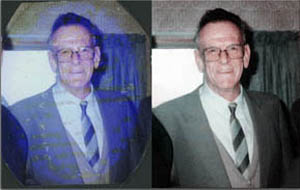 Taking a damaged photo I can remove marks and stains, scatches, fix faded areas, and restore colour
